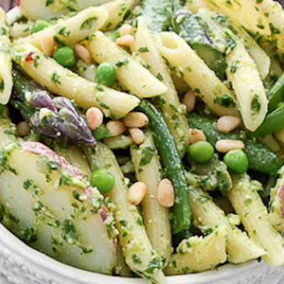 Penne with Arugula Pesto, Idaho® Red Potatoes and Spring Vegetables.