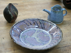 Photo: Panelist and potter, Ingrid Barnes, brought three diverse examples of her work for display.