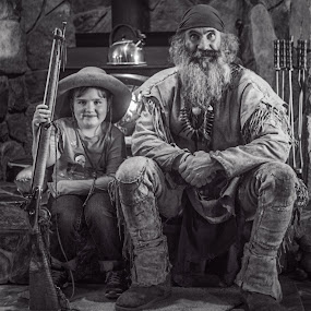 Mountain Man and Fan by Evan Jones - People Musicians & Entertainers ( mountain, vintage, rustic, man )