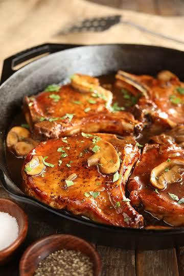 Skillet Chops with French Onion Gravy - Southern Bite