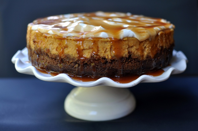 Pumpkin Cheesecake with Gingersnap Crust and Salted Caramel Recipe ...