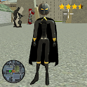 Flying Stickman Panther Rope Hero Crime City icon