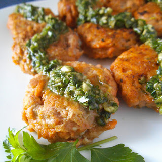 Sweet Potato Chicken Croquettes with Chimichurri Sauce.