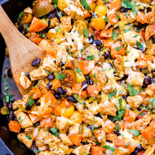 Mexican Chicken, Sweet Potato and Black Bean Skillet.