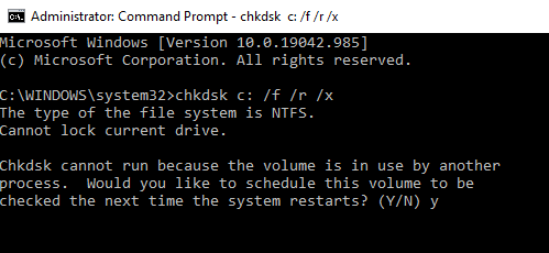 """The system will ask, """"Would you like to schedule this volume to be checked the next time the system restarts?"""" Press Y."""