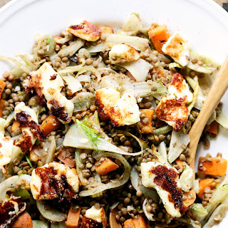Warm Lentils with Fennel & Halloumi.