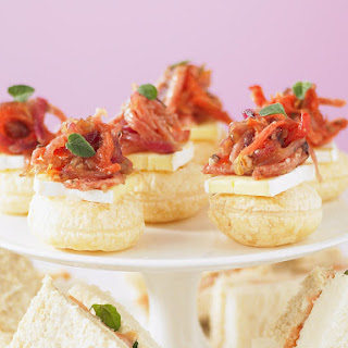 Caramelized Onion, Salami and Tomato Pastries.