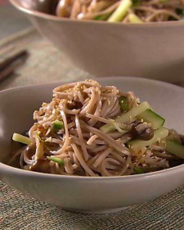 Sauteed Mushrooms And Fresh Cucumber Mingle In This Healthy Buckwheat-noodle Salad.