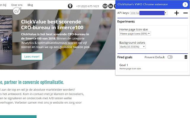ClickValue's VWO Chrome extension