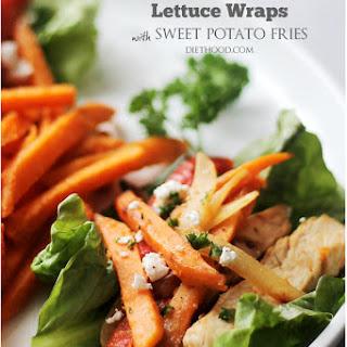 Chicken Fajitas Lettuce Wraps with Sweet Potato Fries
