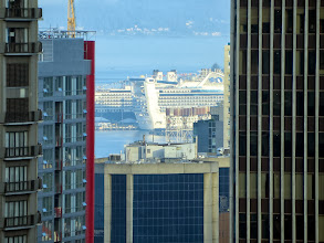 Photo: Between buildings in downtown Seattle, this is a view of pier 91 from the Grand Hyatt, where our cruise ship, Golden Princess, awaits.  ms Oosterdam is the HAL ship just beyond our ship.