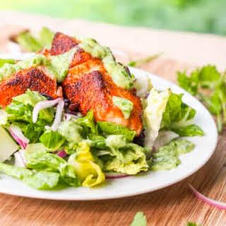 Southwestern Salmon Salad with Avocado Cilantro Dressing {Gluten-Free, Dairy-Free}.