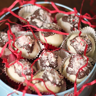 Peppermint Bark Cheesecake Truffles