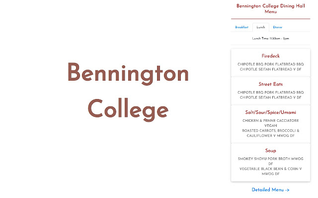 Bennington College Dining Hall Menu