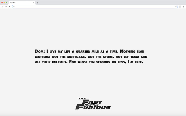 The Fast and the Furious Quotes New Tab