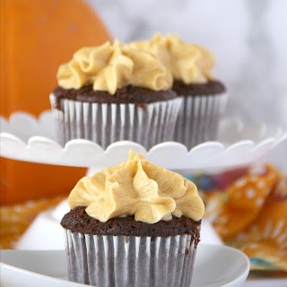 Chocolate Cupcakes with Pumpkin Buttercream Frosting