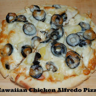 Hawaiian Chicken Alfredo Pizza.