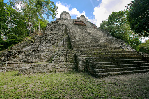 Temple of the Owl or Edificio 1, the main stepped pyramid at the Mayan ruins of Dzibanche, dates to 309-600 A.D.