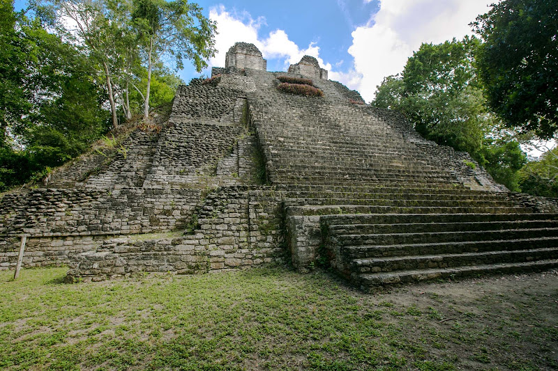 Temple of the Owl or Edificio 1, the main stepped pyramid at the Mayan ruins of Dzibanche in Costa Maya, dates to 309-600 A.D.