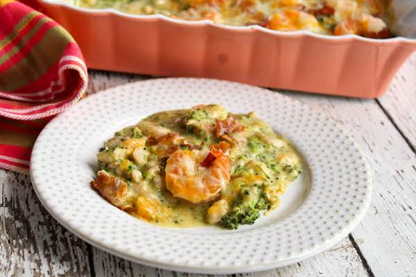 A Serving Of Broccoli Shrimp Casserole On A Plate.