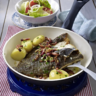 Flounder with Bacon, Potatoes and Salad