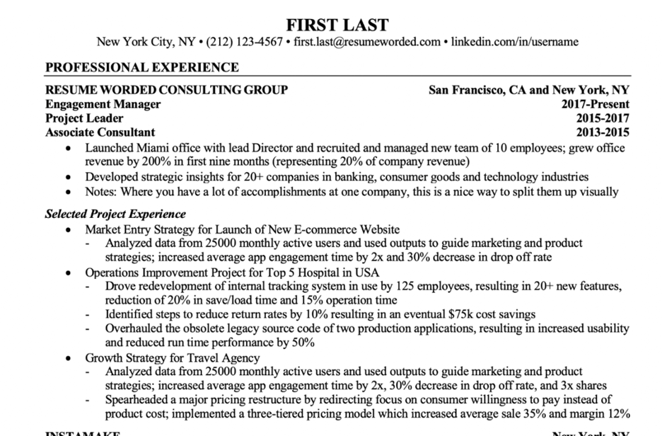 Resume format to show different roles at one company, including a promotion