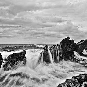 Sawarna Beach In Black and White by Daniel Karamoy - Landscapes Waterscapes