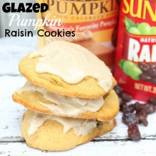 Glazed Pumpkin Raisin Cookies With Pumpkin Pie Icing