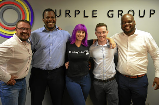 Shares shield: Ettienne Myburgh (EasyEquities), Mbulelo Mpofana, Carly Barnes (EasyEquities), Shane Curran and Iggy Nkwinika have launched a new product that insures equity investors. Picture: SUPPLIED