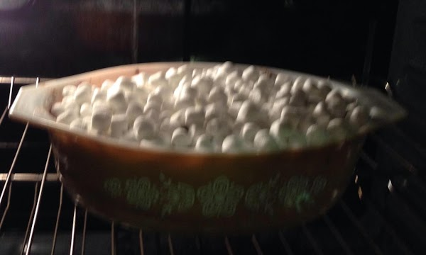 Remove from oven and Sprinkle 1-1/2 cups mini marshmallow on top cooked yams and...