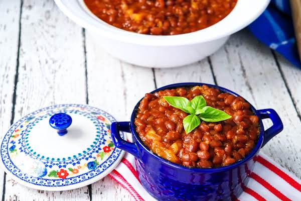 Bourbon Baked Beans In A Blue Bowl.