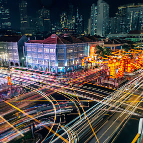 Chinatown by CK Lam - City,  Street & Park  Vistas ( snake, shophouse, chinatown, light trails, car trails, year of the snake, singapore )