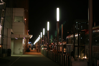 Photo: Bright lights by one of the ferry terminals along the Hudson River.