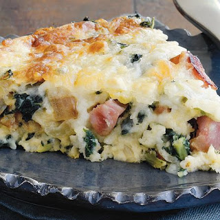Spicy Ham and Greens Quiche.