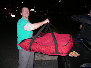 """Photo: Pinos Pizza Ocean City Maryland USA. Valyntine, one of our drivers from Ukraine,  is heading out on a delivery to bring our famous 28"""" huge pizza to a hungry group!  Look how it barely fits in his trunk---BUT IT DOES :)  ---- Pino`s Pizza Ocean City Maryland ---- Call 410-723-FAST (3278)-----------81st street Coastal Highway 10 minute Carry-out, or Fast Delivery to all of Ocean City  We are running a $5.00 OFF special on all 20"""", 24"""", and 28"""" pizzas,   but you must mention the $5.00 OFF Deal at the time it is being ordered."""