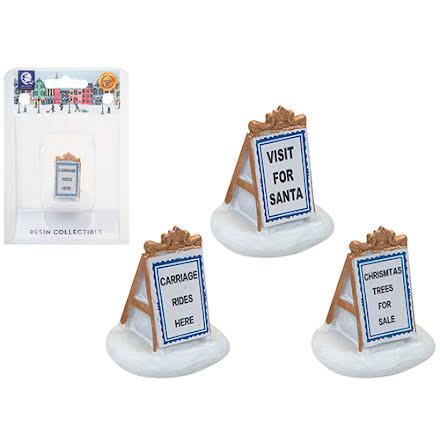 3-pack julskyltar i ram, 4 cm - Mini world