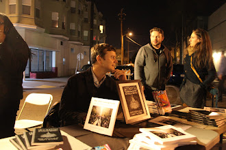 Photo: Matt Werner selling copies of Oakland in Popular Memory, http://thoughtpublishing.org/oakland-in-popular-memory/