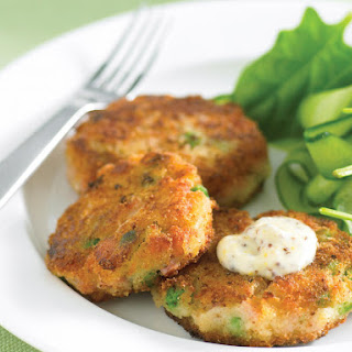 Ham and Pea Patties with Mustard-Mayonnaise.