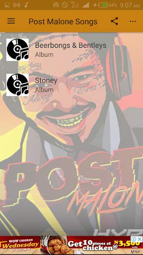 Post Malone Songs App Report on Mobile Action - App Store