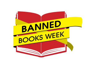 Book wrapped in yellow (caution) tape with Banned Books Week text.