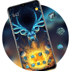 Abstract theme the king deer fantasy animal icon