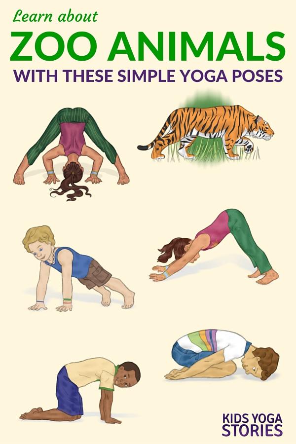 5 Zoo Yoga Poses For Kids Printable Poster Kids Yoga Stories Yoga Resources For Kids