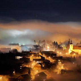 Autumn in Croatia by Zoran Stanko - City,  Street & Park  Vistas ( lights, church, fog, long exposure, night, town, mist )