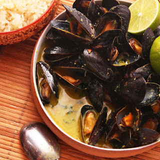 Steamed Mussels With Thai-Style Coconut-Curry Broth.