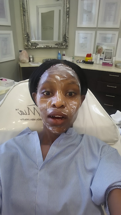 My face being numbed with a cream