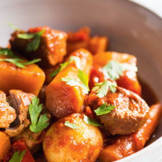Pressure-Cooker Pork Stew with Fall Vegetables.