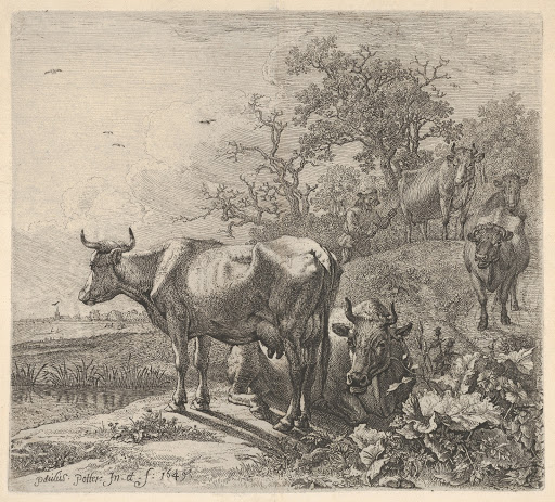 Cowherd driving three horned cattle before him; below, in the foreground, a recumbent steer and a standing steer, marsh and trees beyond