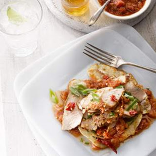 Chinese Seared Pork with Five-Spice Rhubarb Sauce.
