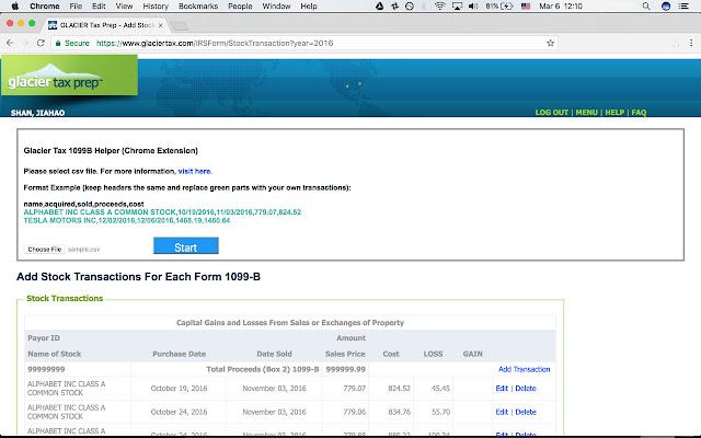 Glacier tax 1099-B Stock Transactions Helper
