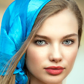 The Blue Scarf by Sylvester Fourroux - People Portraits of Women